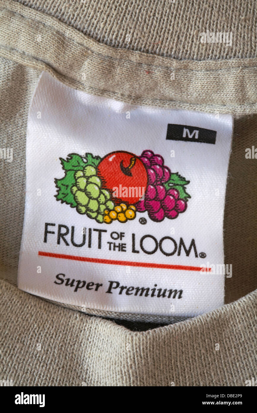 fruit of the loom label in t shirt stock photo royalty. Black Bedroom Furniture Sets. Home Design Ideas