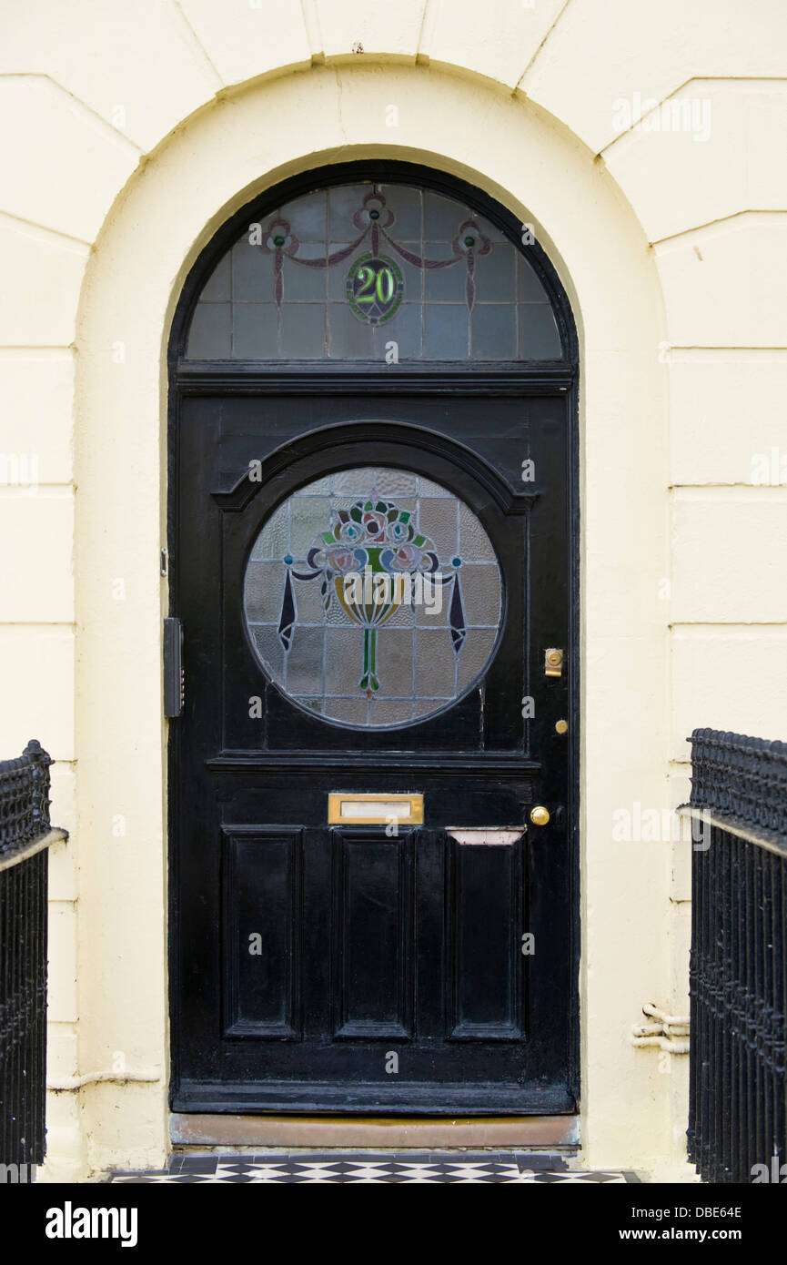 Number 20 black front door with stained glass in brunswick for Black entry door with glass