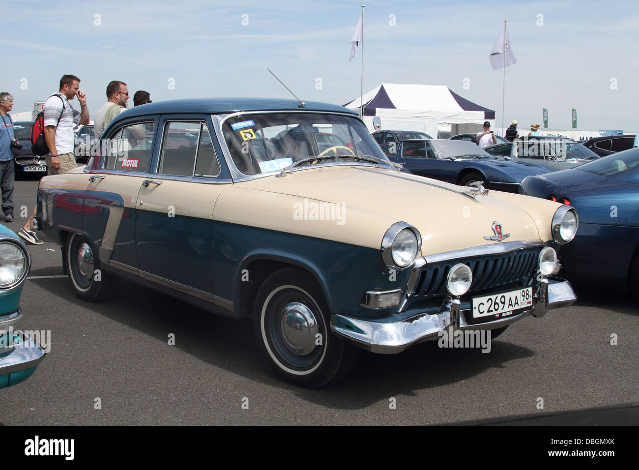 Classic Russian Saloon Car In Turquoise Two Tone Dark Blue And Cream