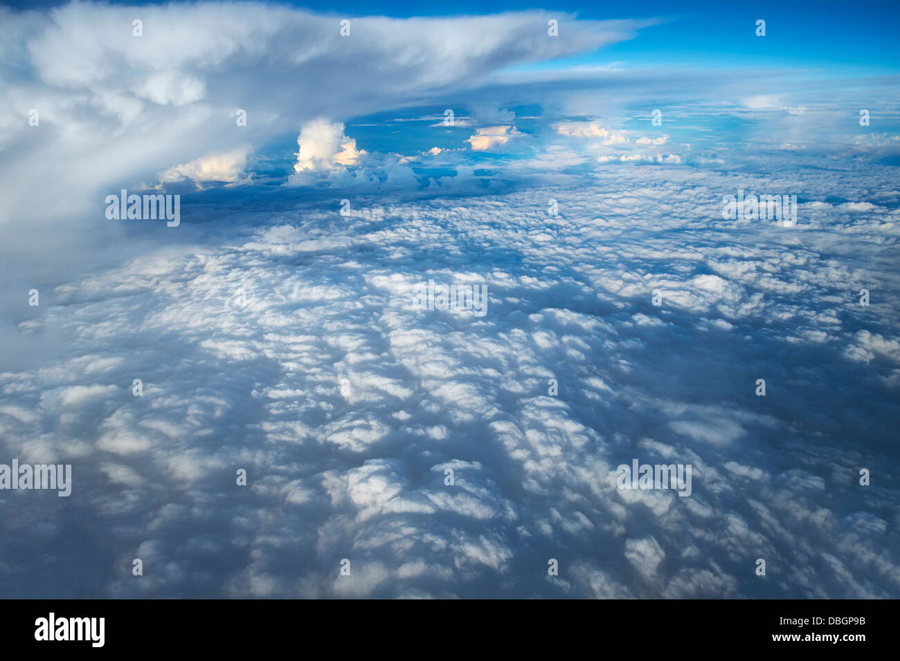 Looking down through the clouds to planet earth Stock ...