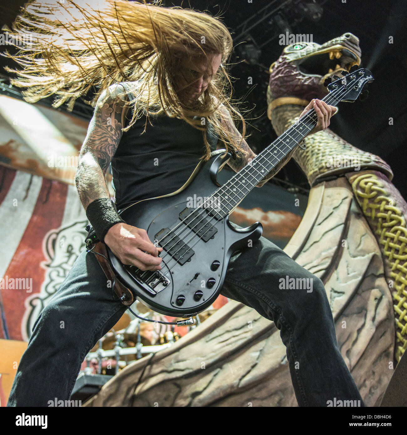 swedish heavy metal band amon amarth performing live at