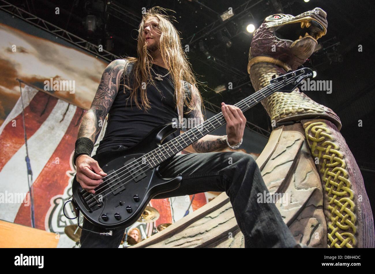 swedish heavy metal band amon amarth performing live at