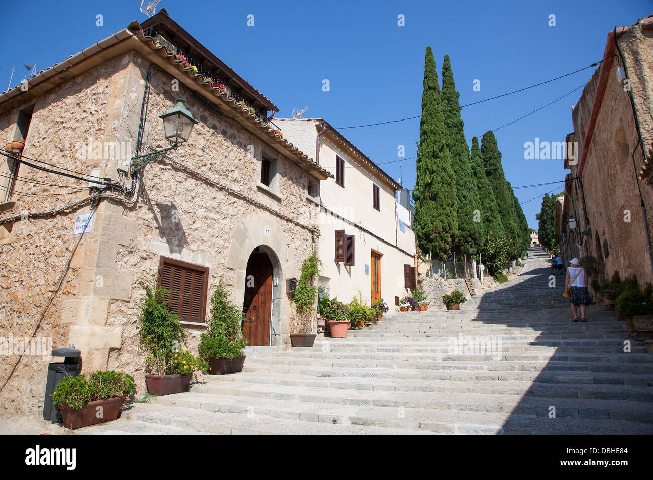 365 Calvari Steps in old town of Pollensa on the island of Majorca in Stock P...
