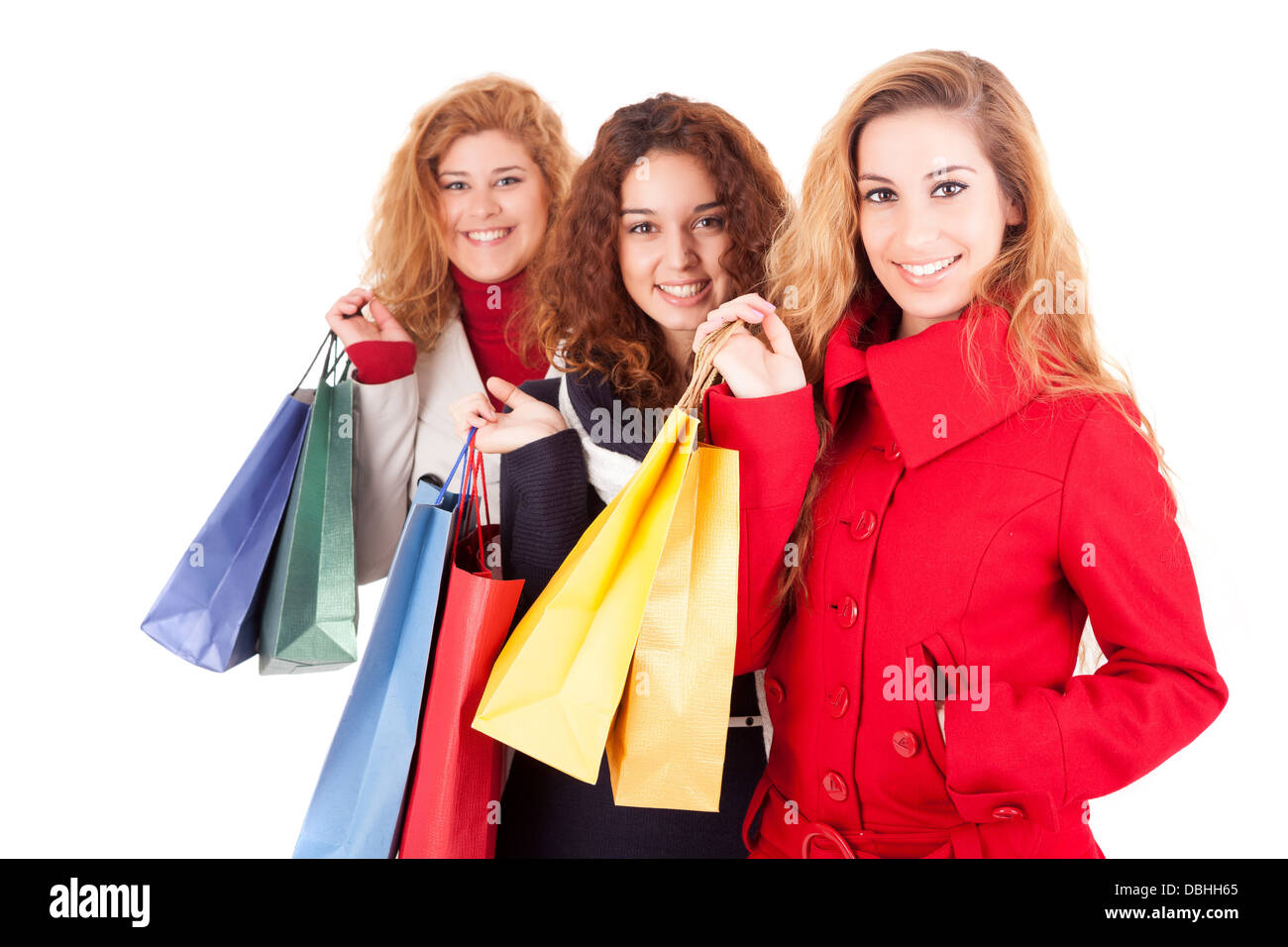 Happy group of women with a lot of shopping bags Stock Photo ...