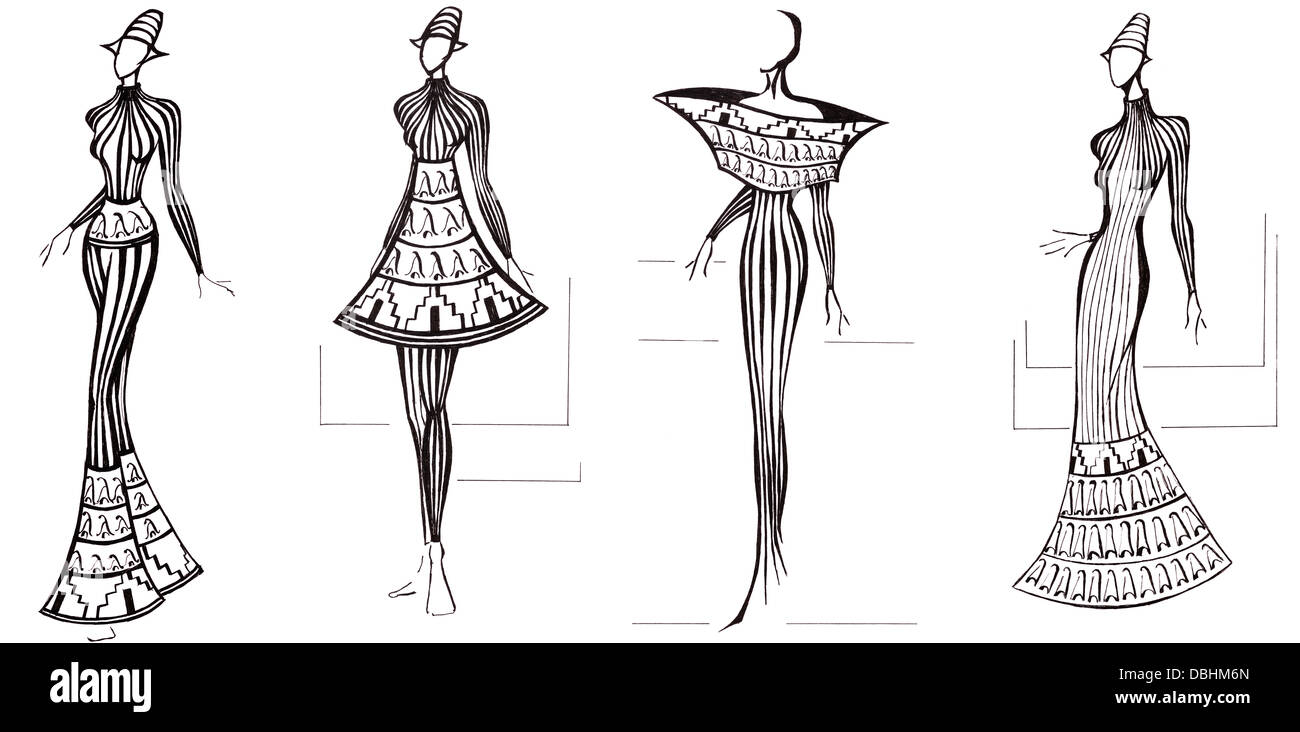 sketch of fashion model design of dresses based on