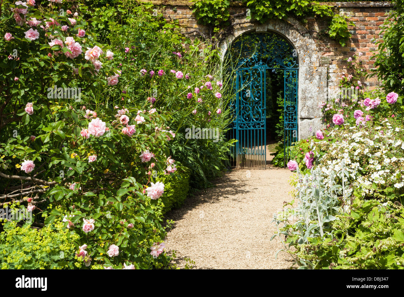 Entrance To Portland Rose Gardens : The arched gated entrance to walled garden of rousham