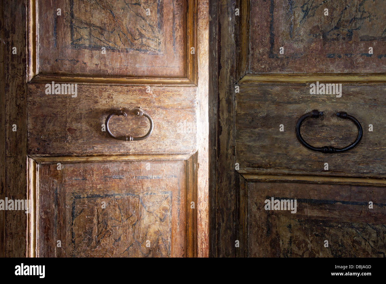 Old wooden door opening with light shining through Stock ...