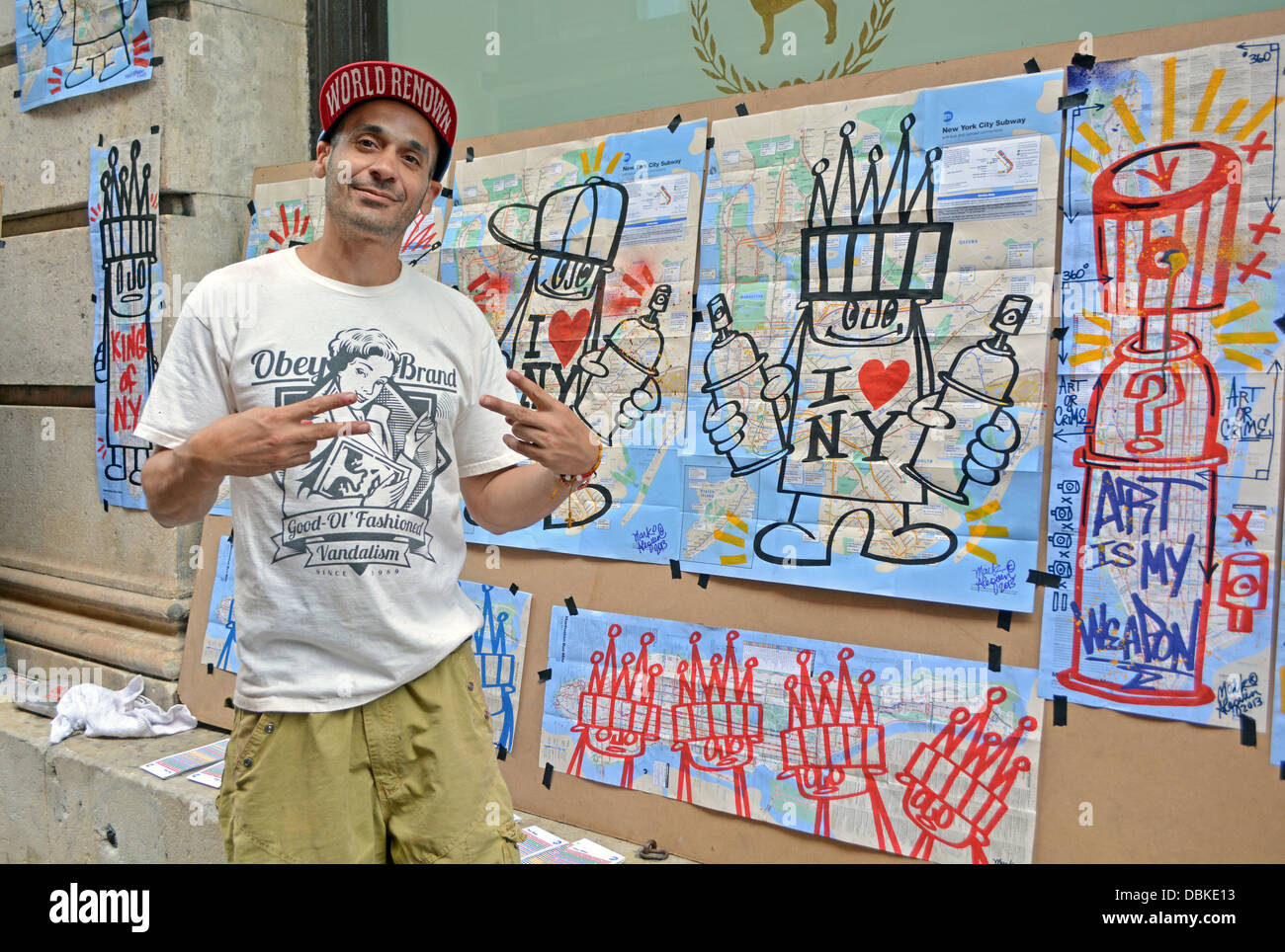 Graffiti art sale - Portrait Of New York City Graffiti Artist Mark Alequin In Front Of His Work For Sale In Soho Downtown New York City