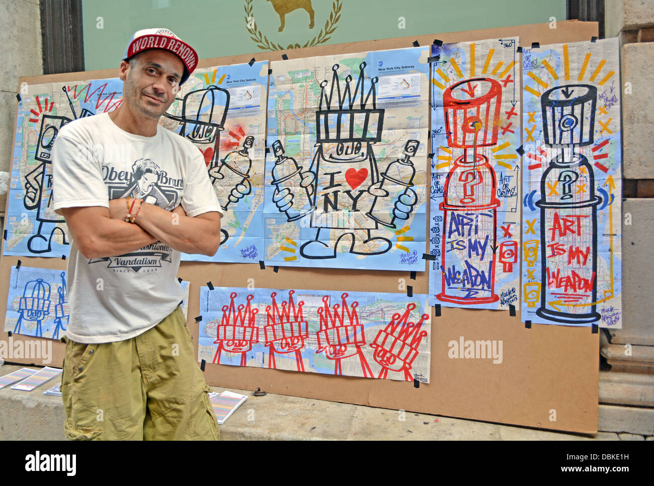 Graffiti art sale -  Portrait Of New York City Graffiti Artist Mark Alequin In Front Of His Work For Sale