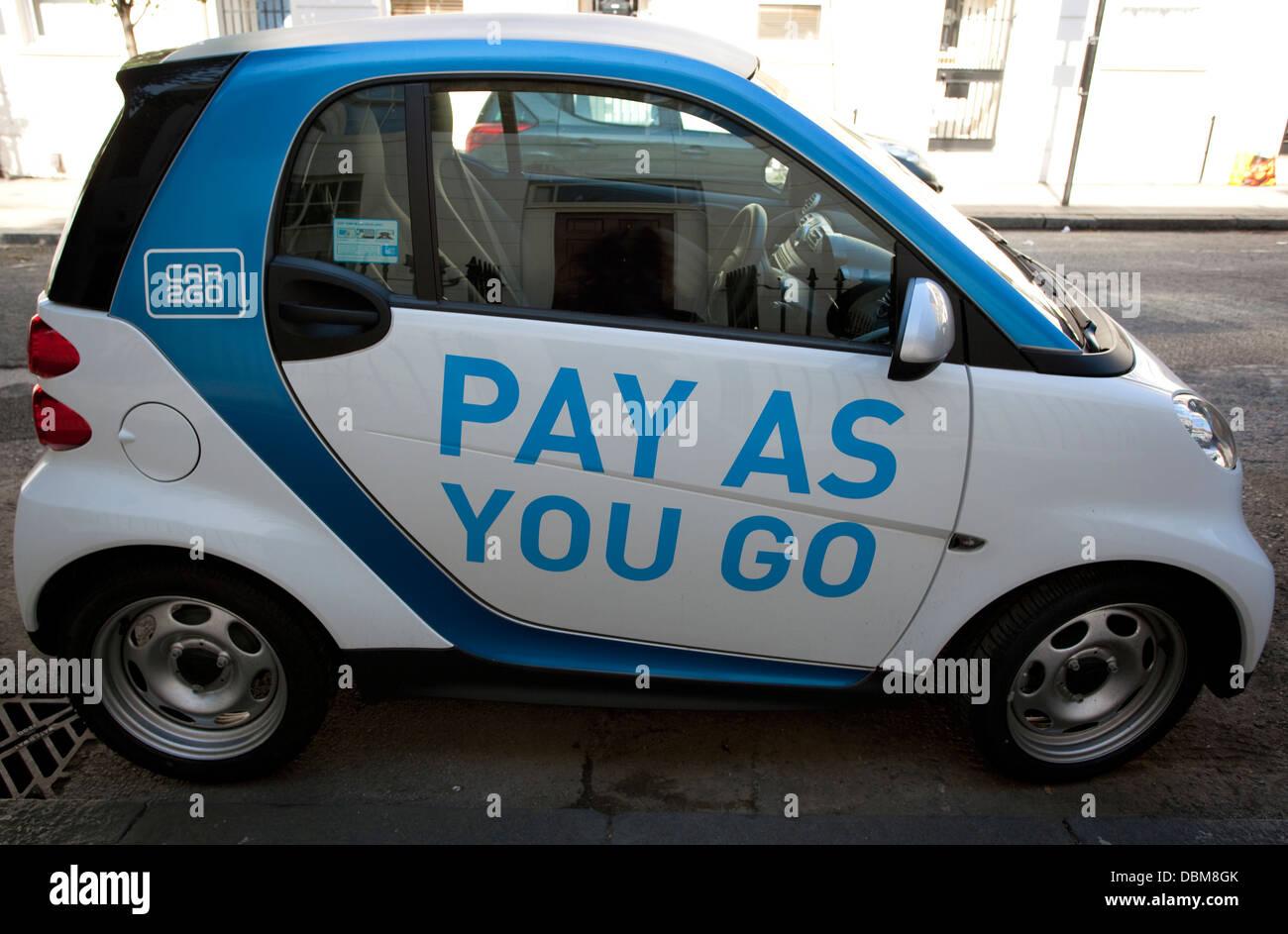 Car 2 Go Pay As You Go Car Club Smart Car London Stock Photo