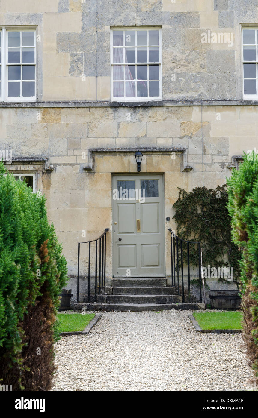 Front Door To Traditional Cotswold Stone House In Cecil