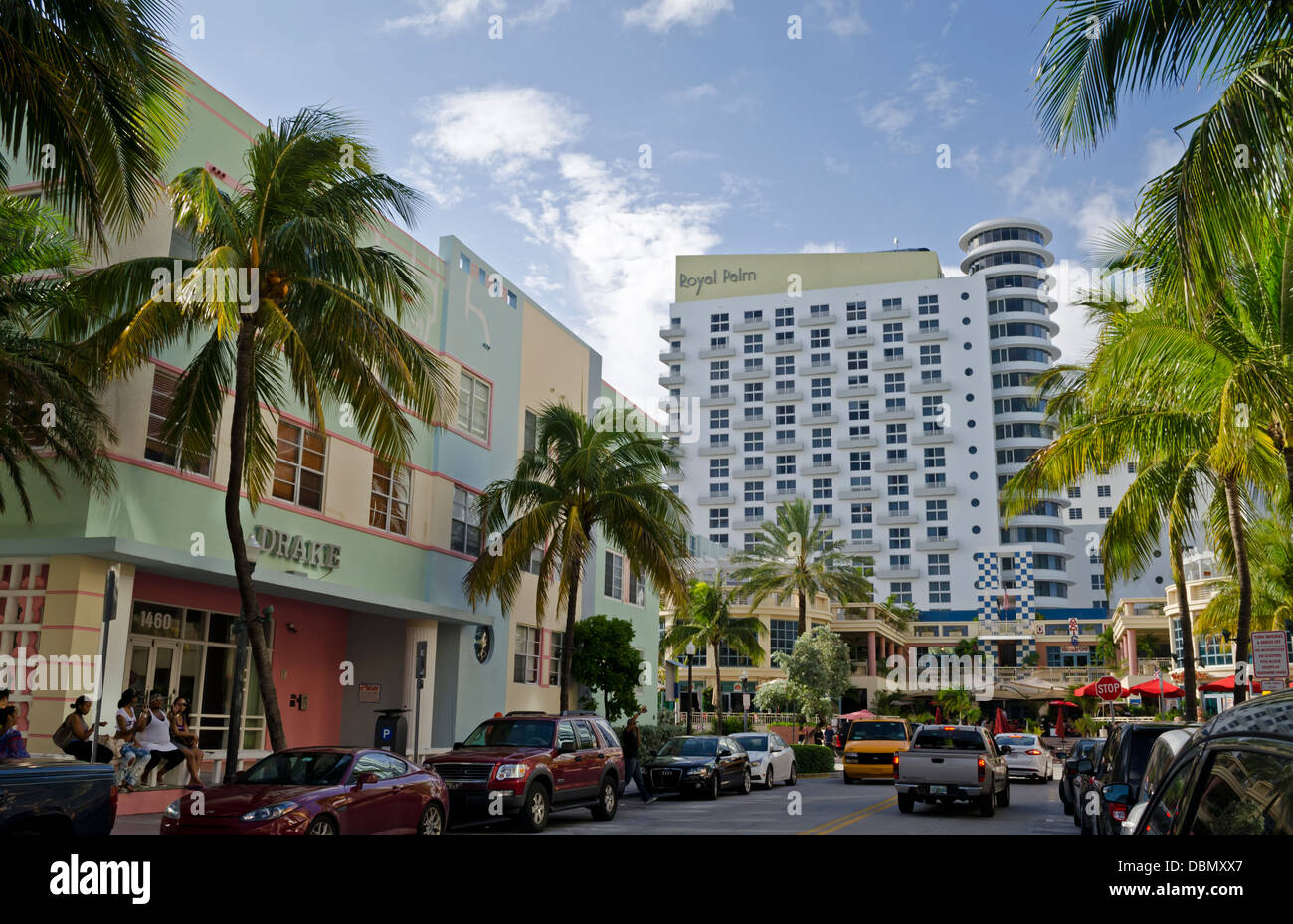 Art deco restaurants and hotels of ocean drive in south beach miami florida royal palm and the drake hotels can be seen