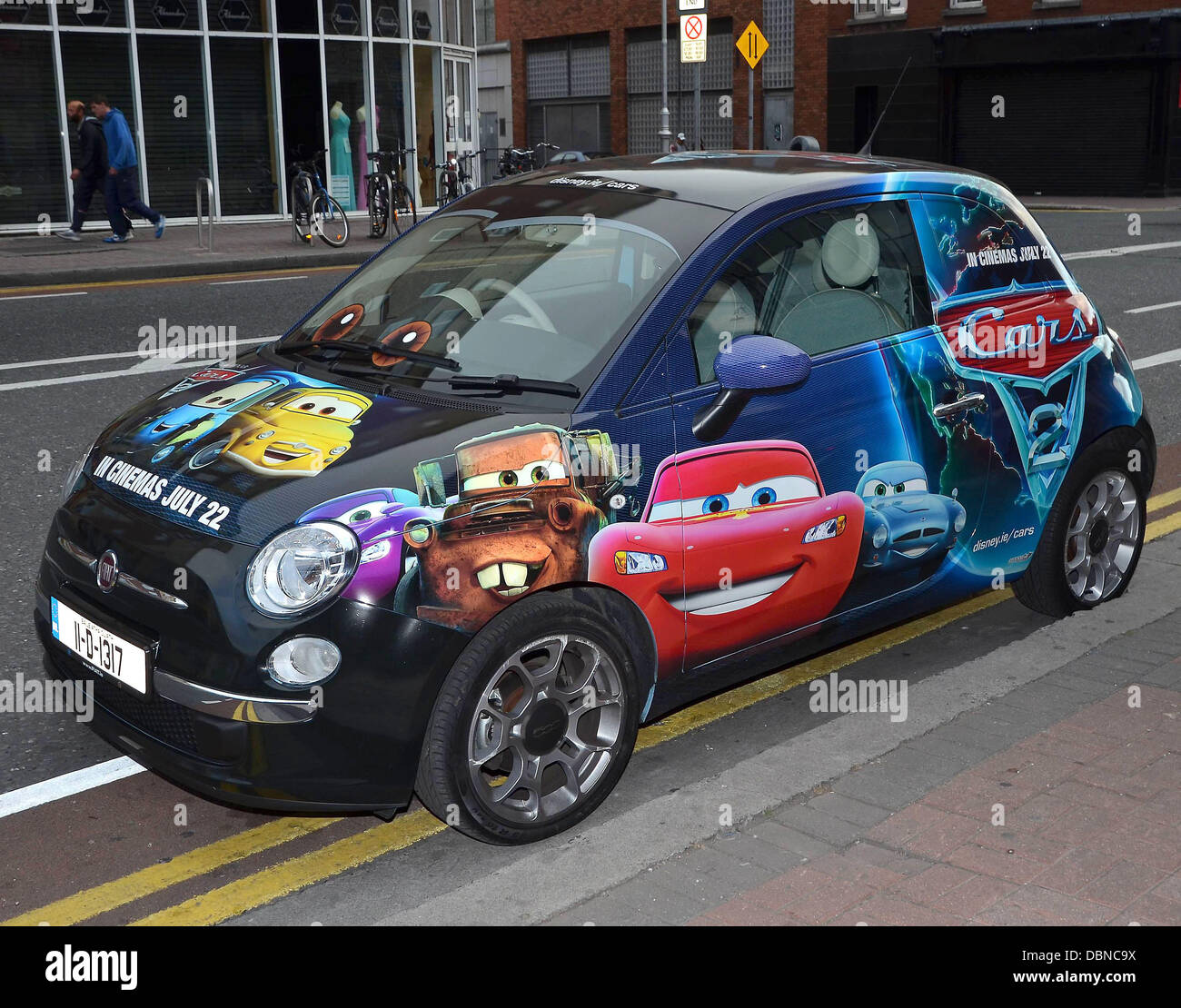A Fiat 500 Car Painted In Pixar And Walt Disney Cars 2
