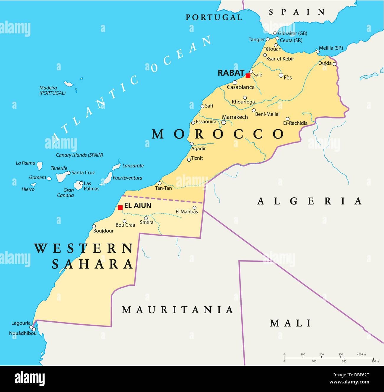 Morocco And Western Sahara Political Map Stock Photo Royalty Free - Western sahara map