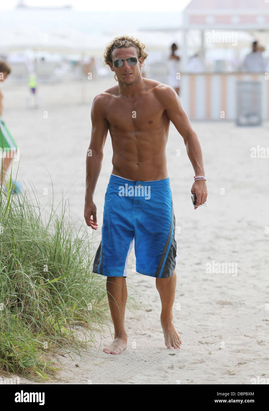 Footballer Diego Forlan relaxes on Miami Beach Miami Beach