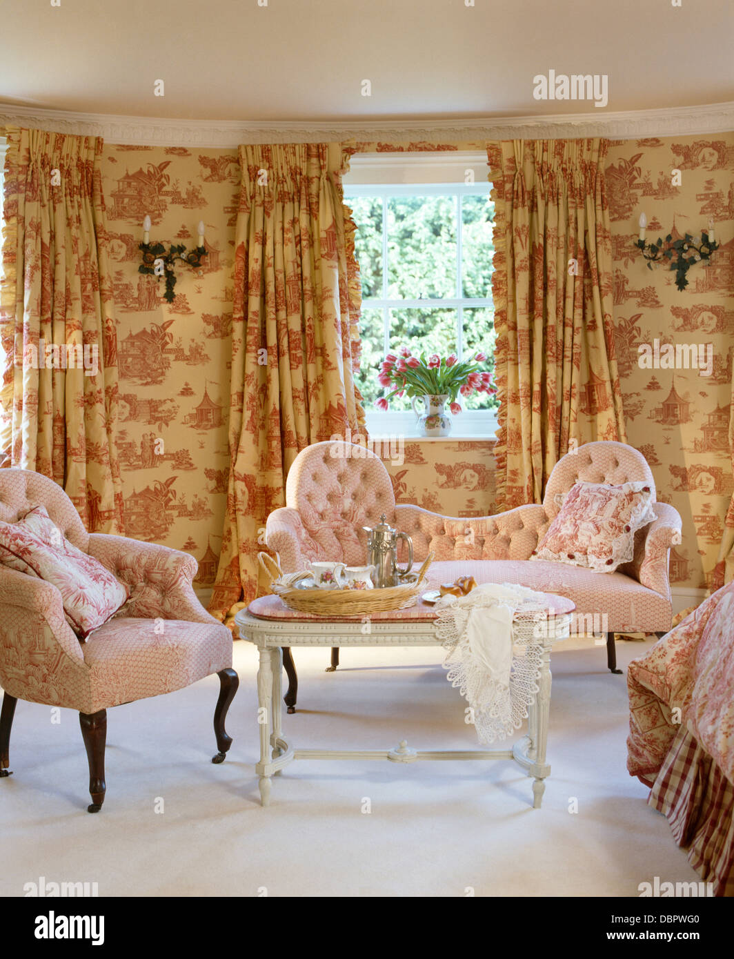 Pink Toile De Jouy Curtains And Matching Wallpaper In