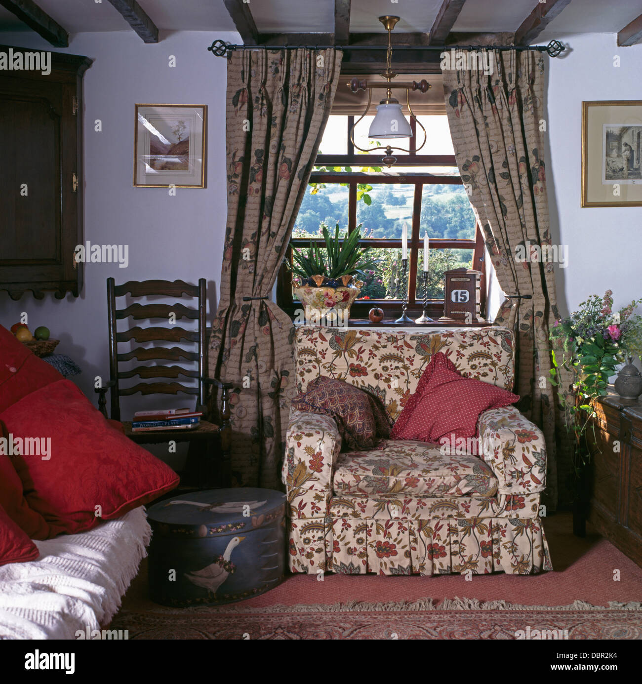 Great Patterned Drapes On Window Above Floral Armchair In Cottage Living Room  With Antique Ladder Back Part 31