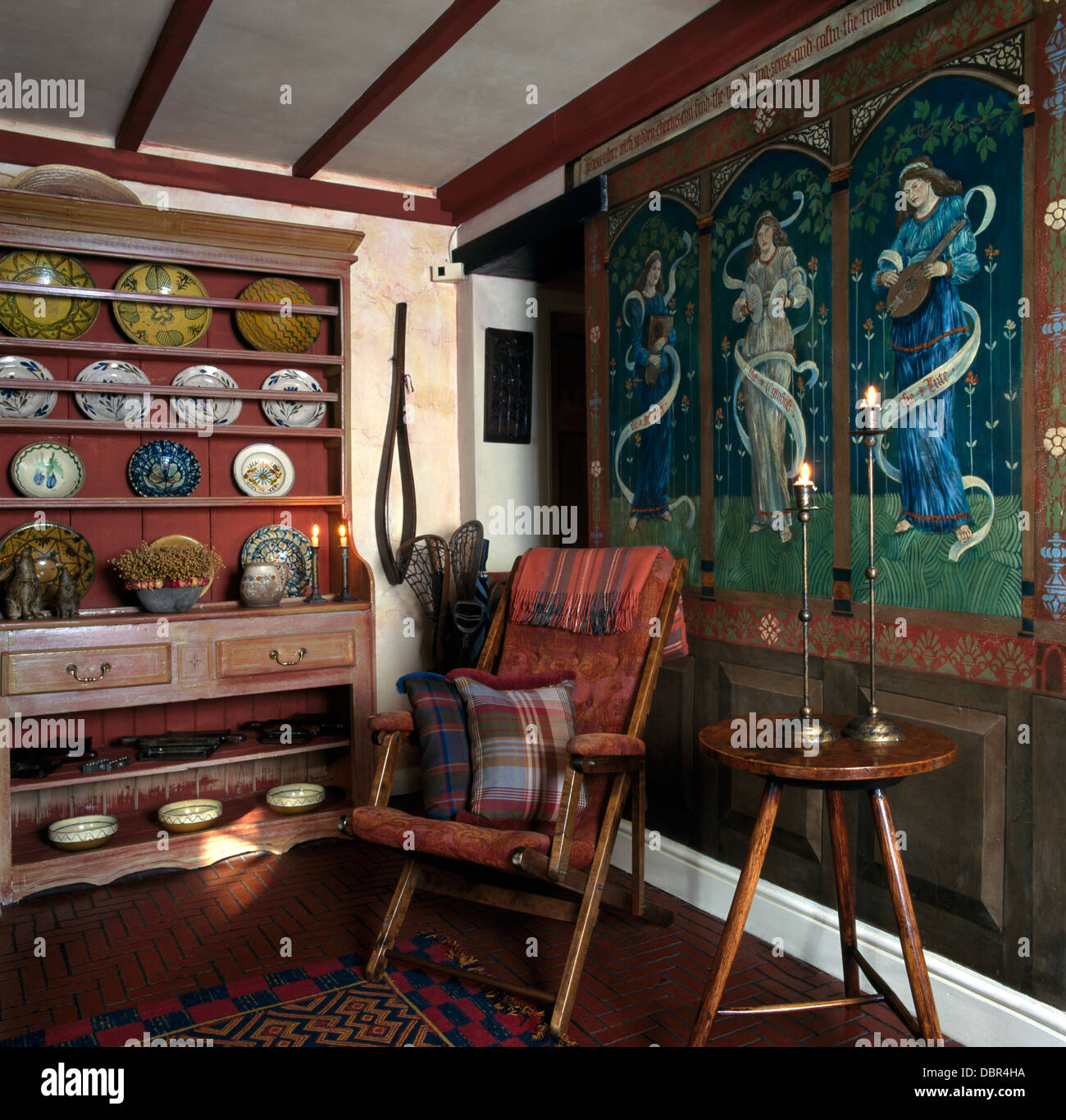 Medieval style mural on paneled wall in small country dining room medieval style mural on paneled wall in small country dining room with antique dresser and campaign chair beside cricket table amipublicfo Image collections