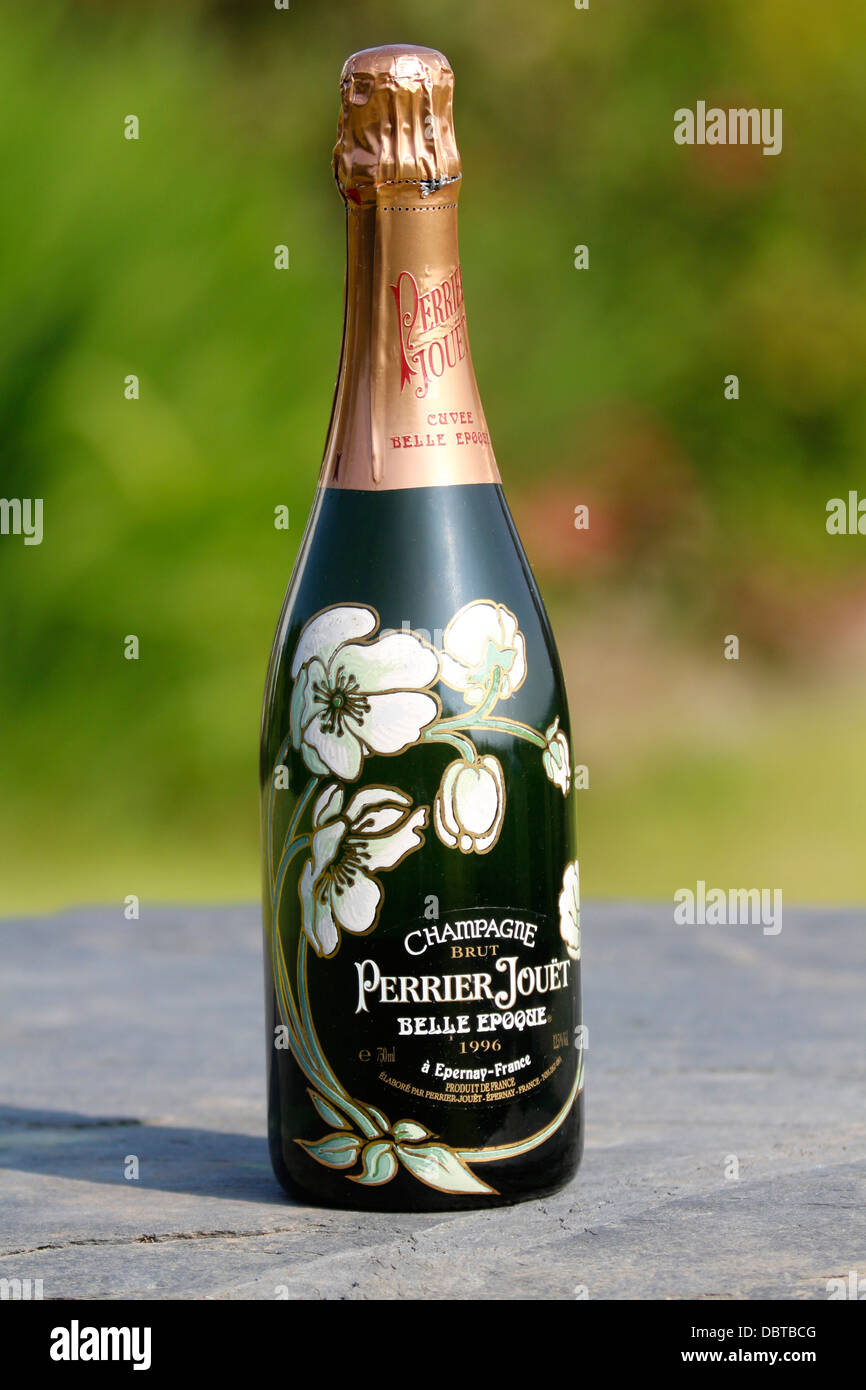 hand painted decorated bottle of perrier jouet belle