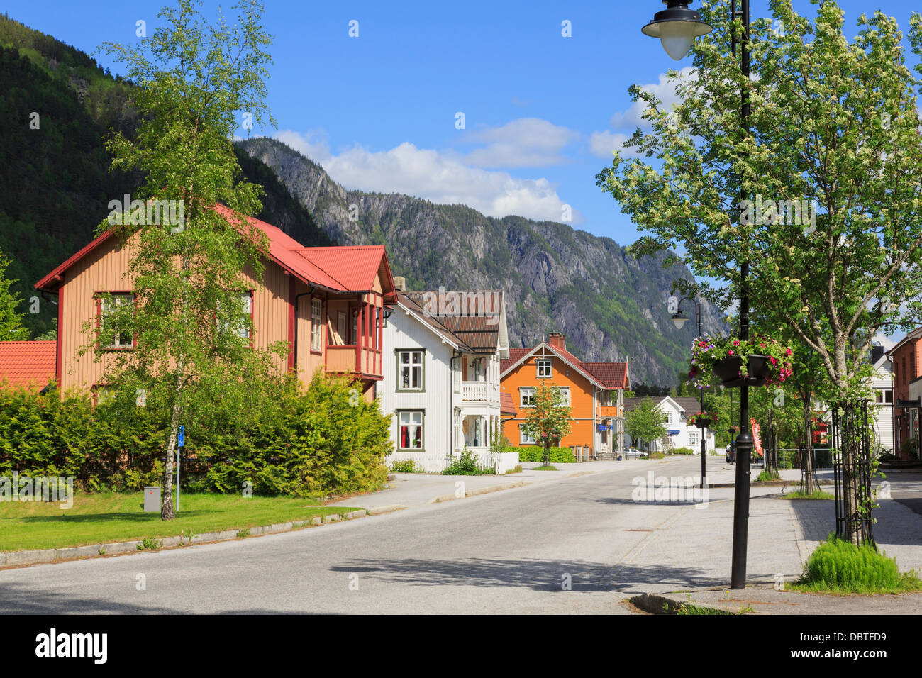 Typical norwegian wooden houses along the quiet main for Norway wooden houses
