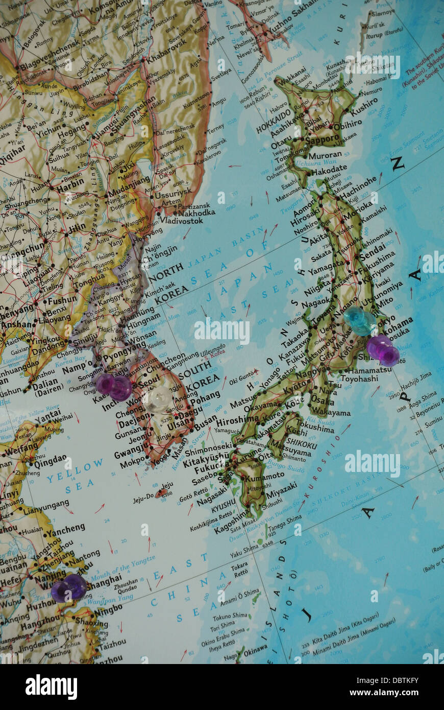 A Map Of Asia With Thumbtacks Marking Places In Korea Japan And - Huaian map