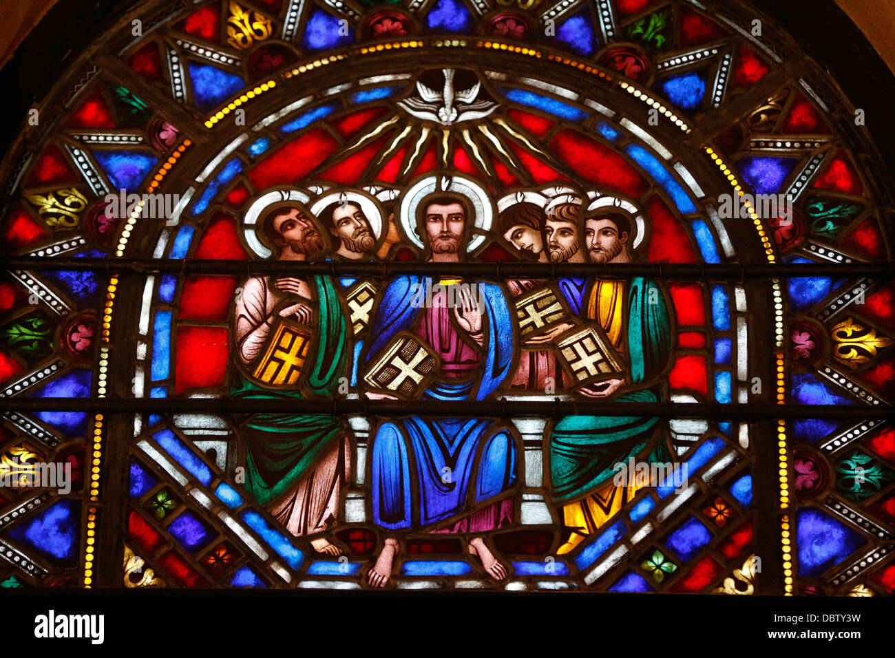 Stained Glass Window Of Jesus And The 12 Apostles St Barths Church New York United States America North