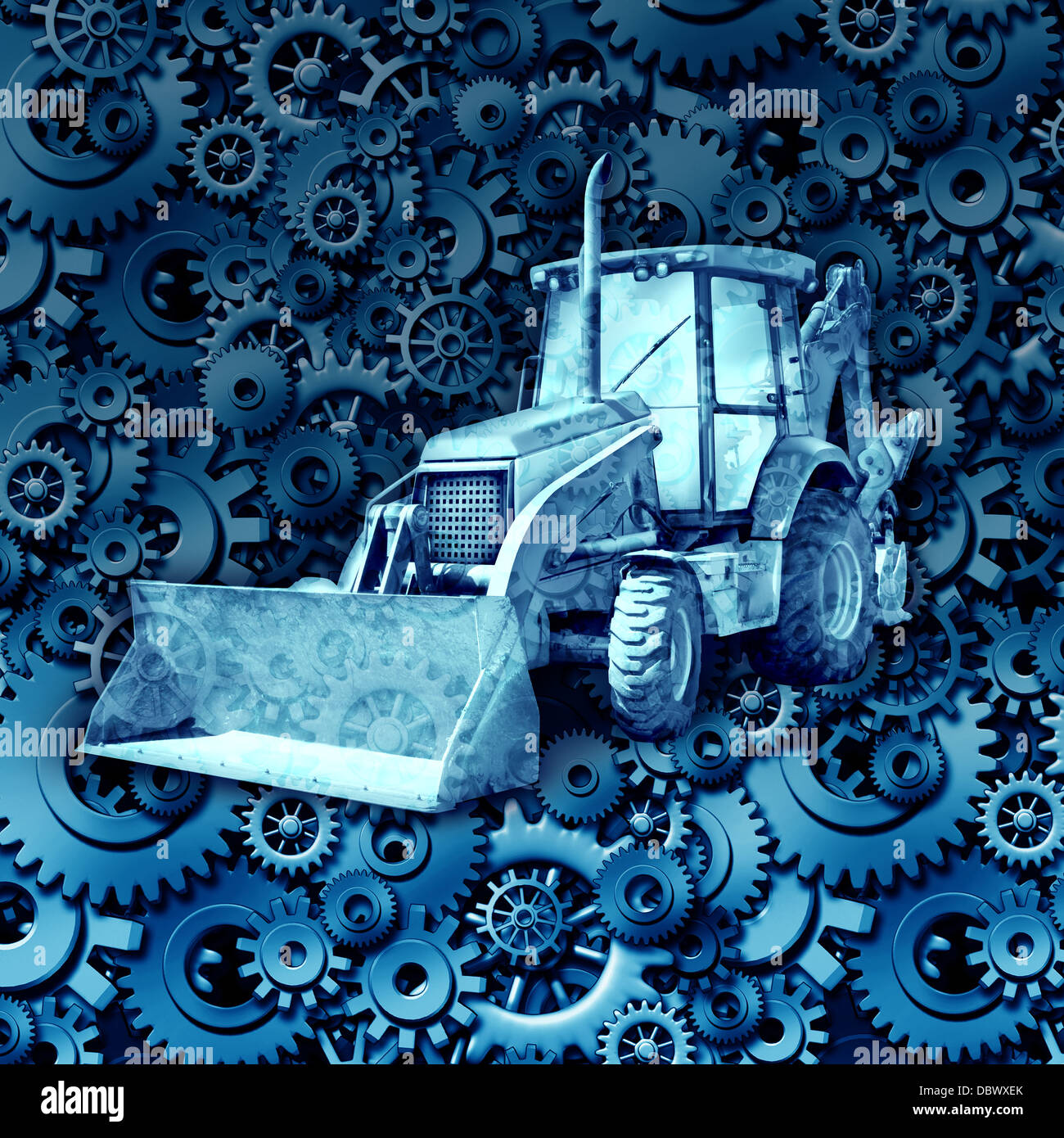Construction machine equipment with a bulldozer or tractor against construction machine equipment with a bulldozer or tractor against a background of gears and cog wheels as an industry symbol of the economy and working buycottarizona Image collections