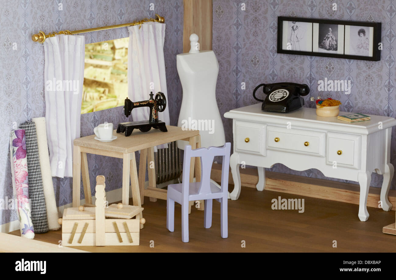 Dolls house interior seamstress home office Stock Photo Royalty