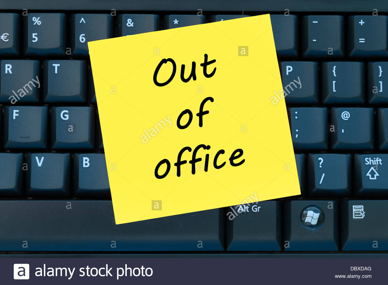 Out Of Office Post It Sticky Yellow Note Stock Photo, Royalty Free ...