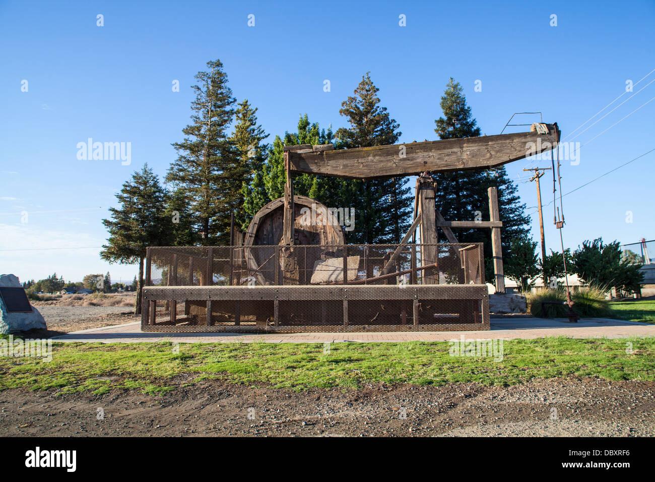 A Wooden Walking Beam Oil Pump In Coalinga California