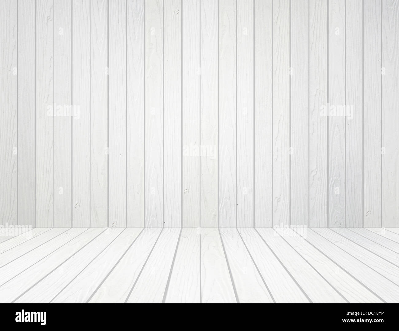 stock photo room interior with white wood wall and wood floor background