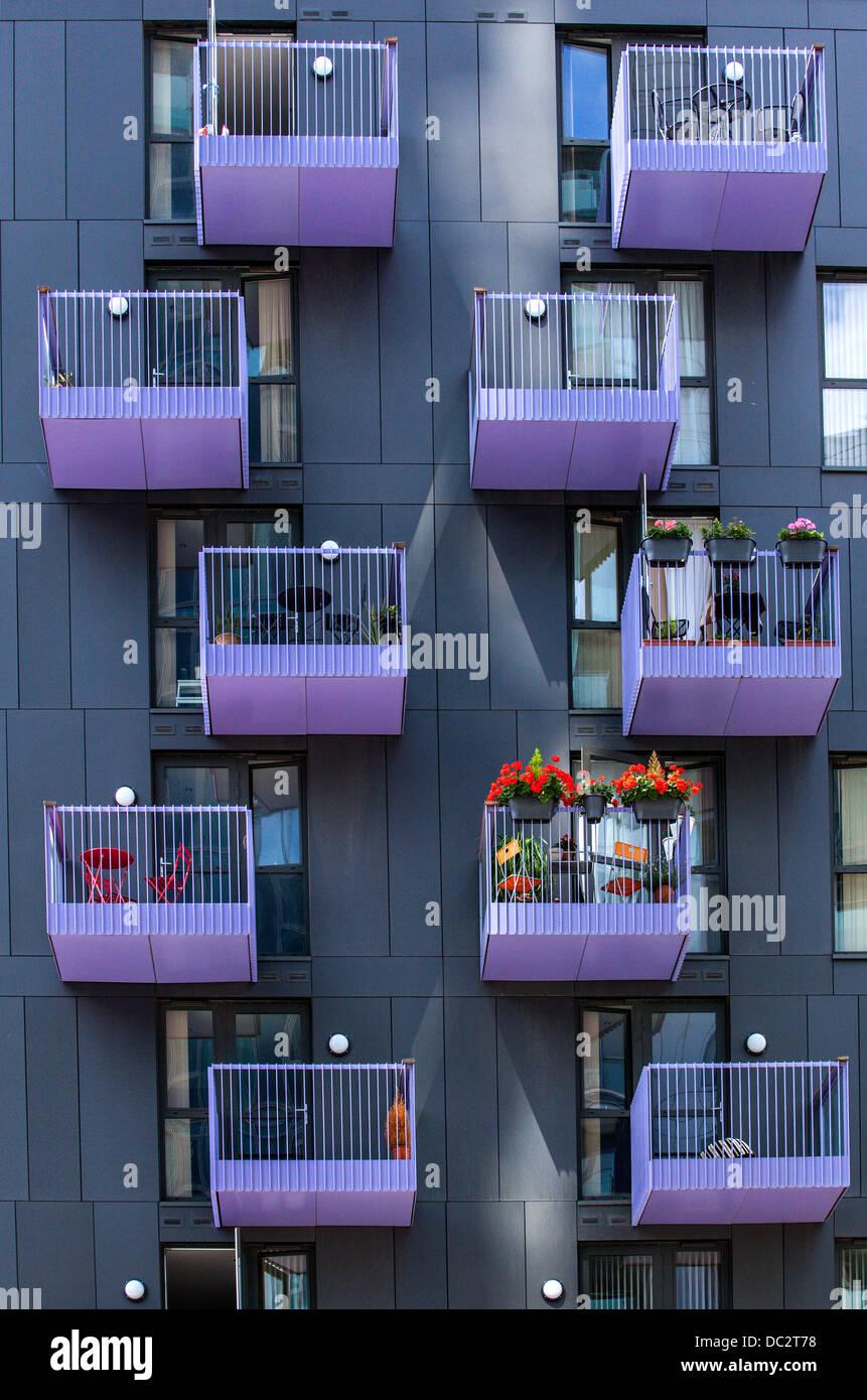 Balconies In Summer In Modern Apartment Building In Prenzlauer
