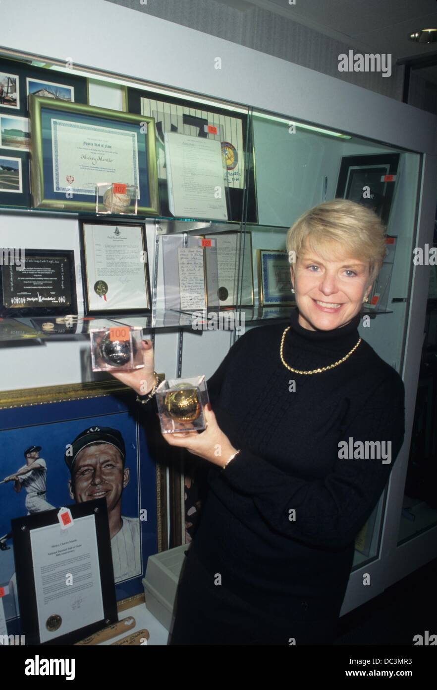 GREER JOHNSON with Mickey Mantle collection at South Gate Hotel in