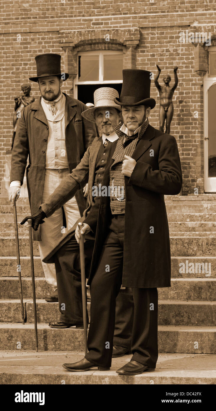 Victorian Era Recreation In Sepia Gentlemen In Top Hats