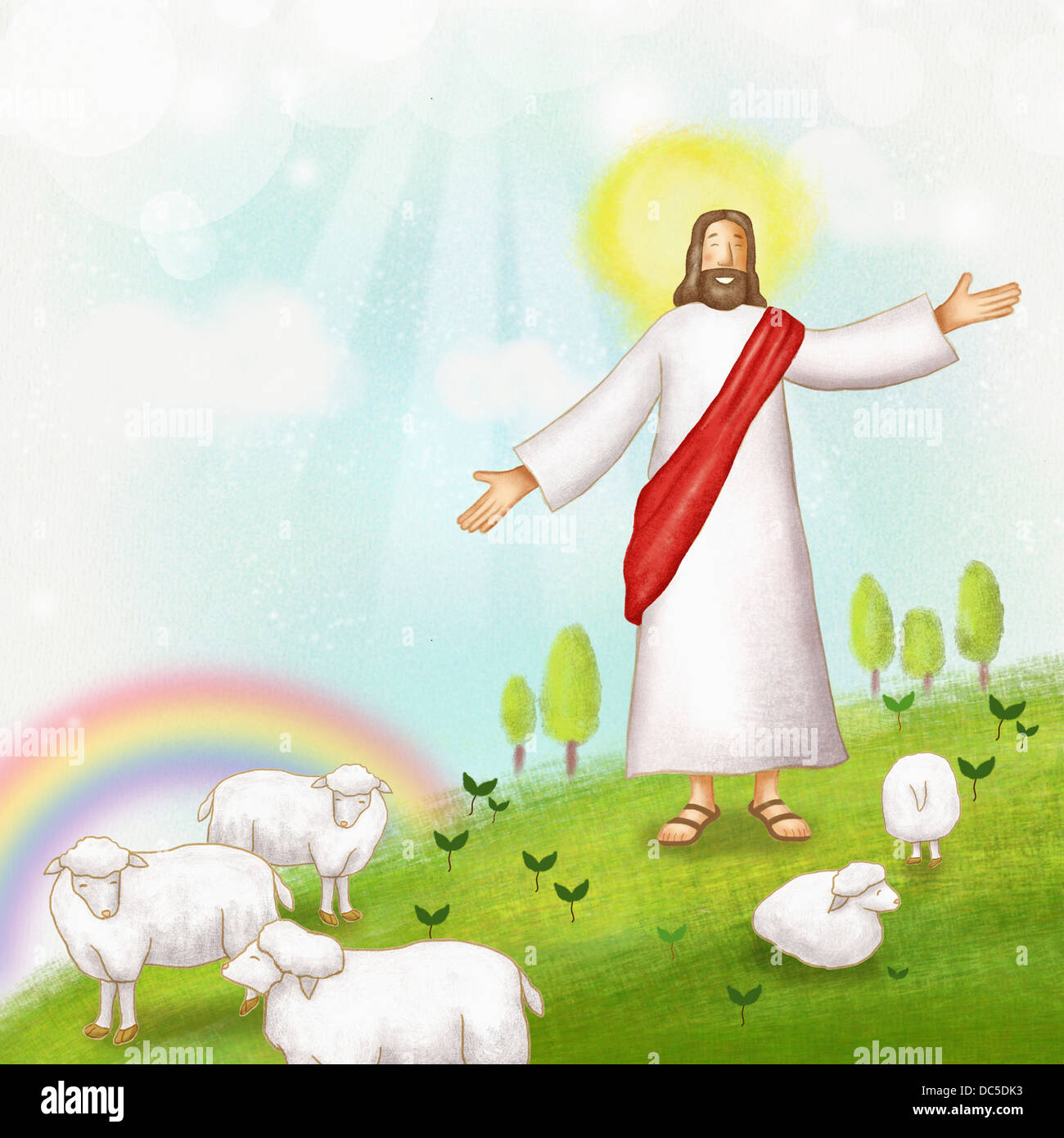 illustration of jesus with sheep stock photo royalty free image