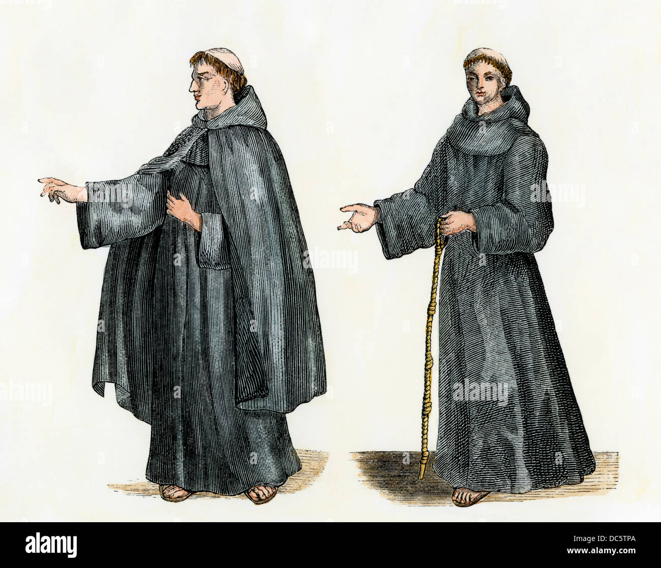 Franciscan Monk Or Grey Friar Shown With And Without His