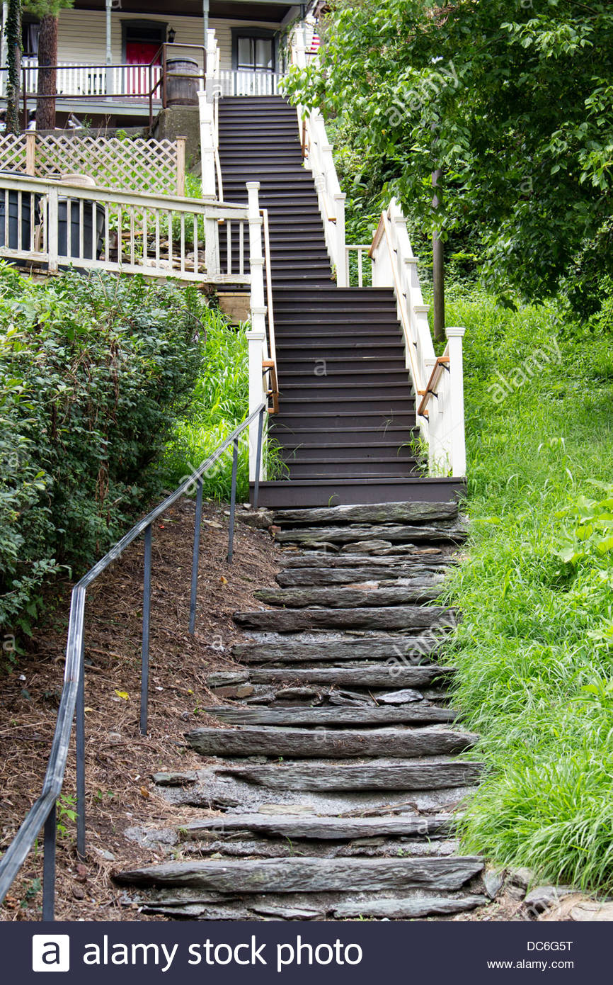 Steep Stairs To An Old House In Harpers Ferry, West Virginia