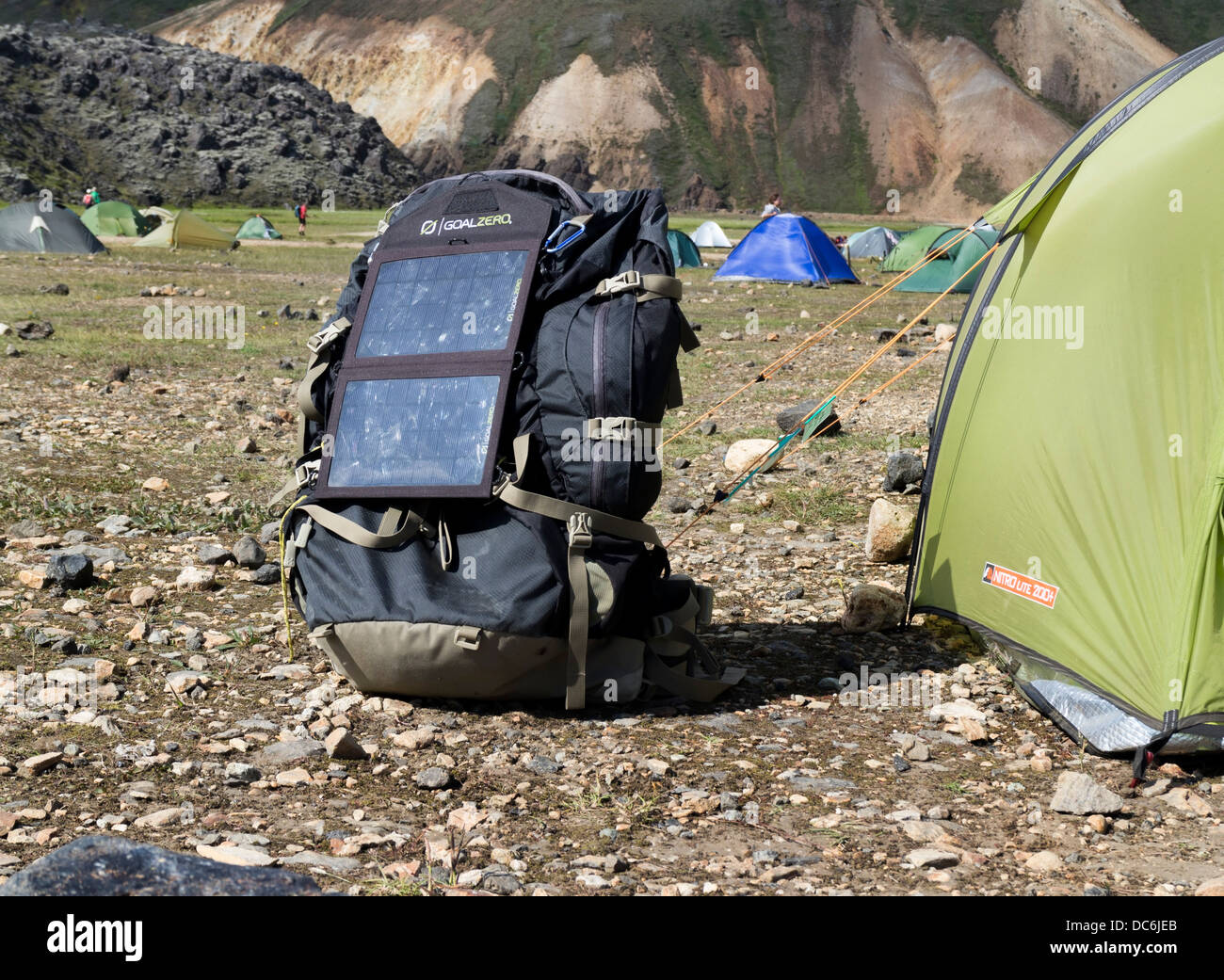 Rucksac Next to Tent with Solar Panels Attached Landmannalaugar Iceland & Rucksac Next to Tent with Solar Panels Attached Landmannalaugar ...