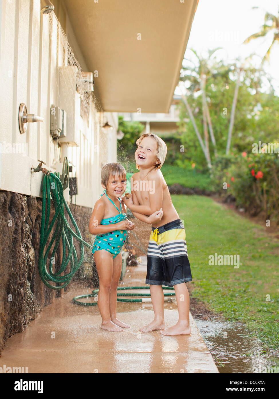 Children in shower