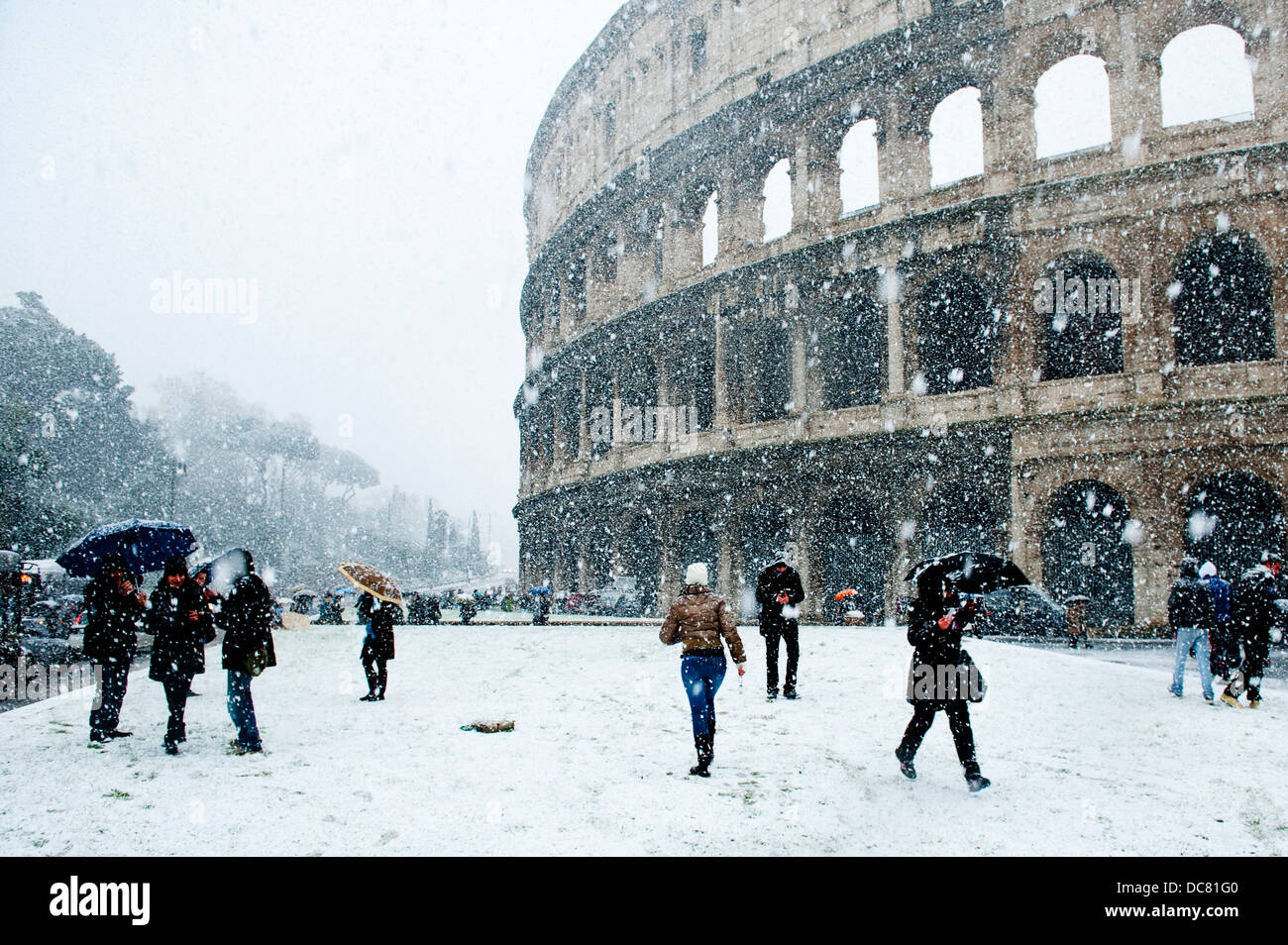 The Colosseum Covered In Snow Rome Italy Stock Photo Royalty - Italy in the winter