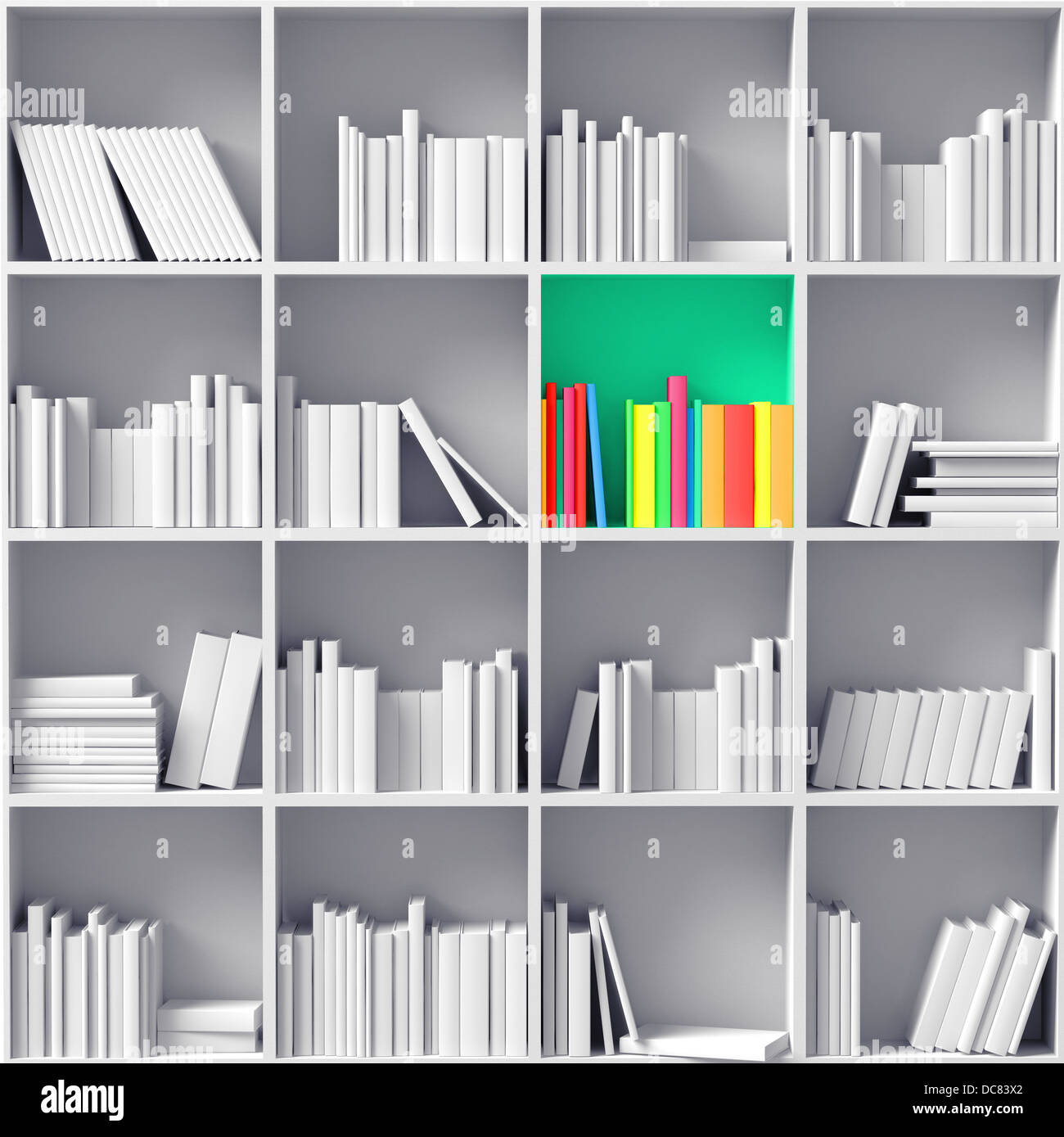 Bookshelves color - Stock Photo White Bookshelves With One Color Partition