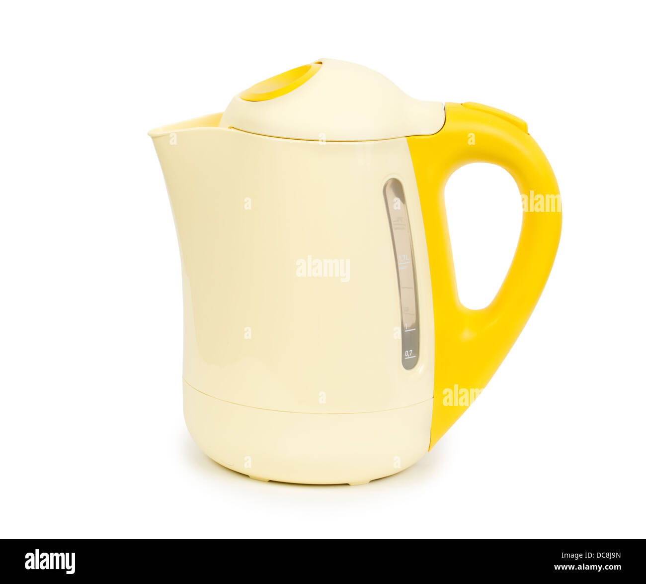 electric yellow tea kettle isolated on white background with  - stock photo  electric yellow tea kettle isolated on white background withclipping path