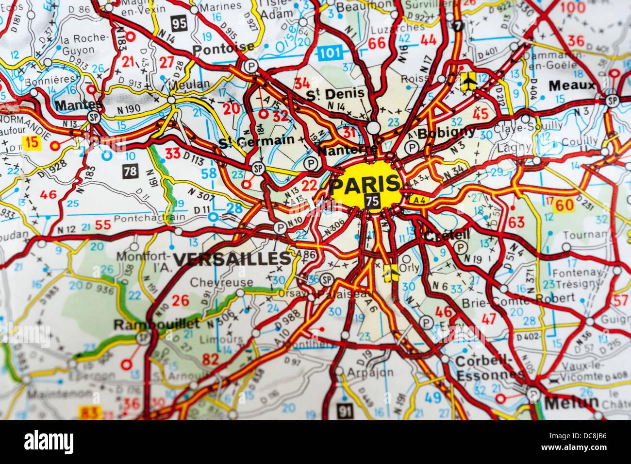 Map Of Paris And Surrounding Areas Close Up Stock Photo Royalty - Paris road map