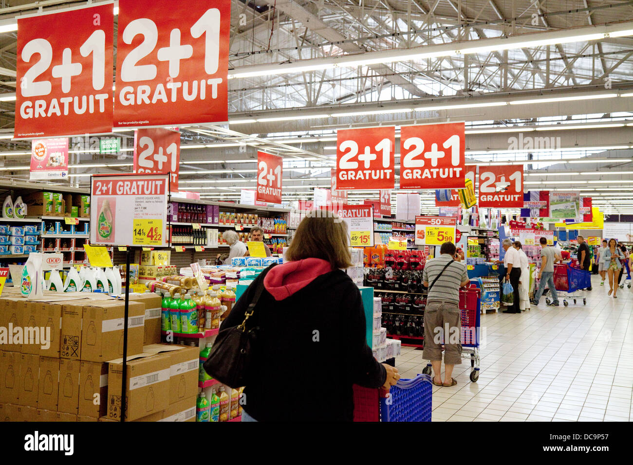 people shopping inside a french carrefour supermarket france europe stock photo royalty free. Black Bedroom Furniture Sets. Home Design Ideas