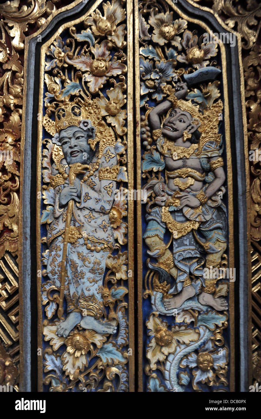 Decorations on a door of the temple on Monkey forest at Ubud Bali & Decorations on a door of the temple on Monkey forest at Ubud Bali ...