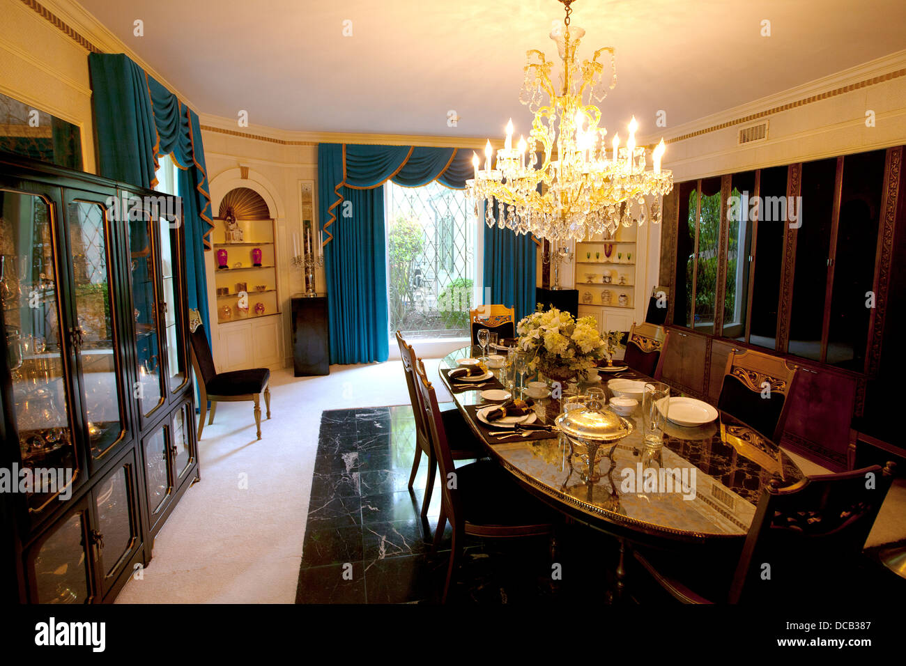 The Dining Room At Graceland Home Of Elvis Presley In Memphis Tennessee USA