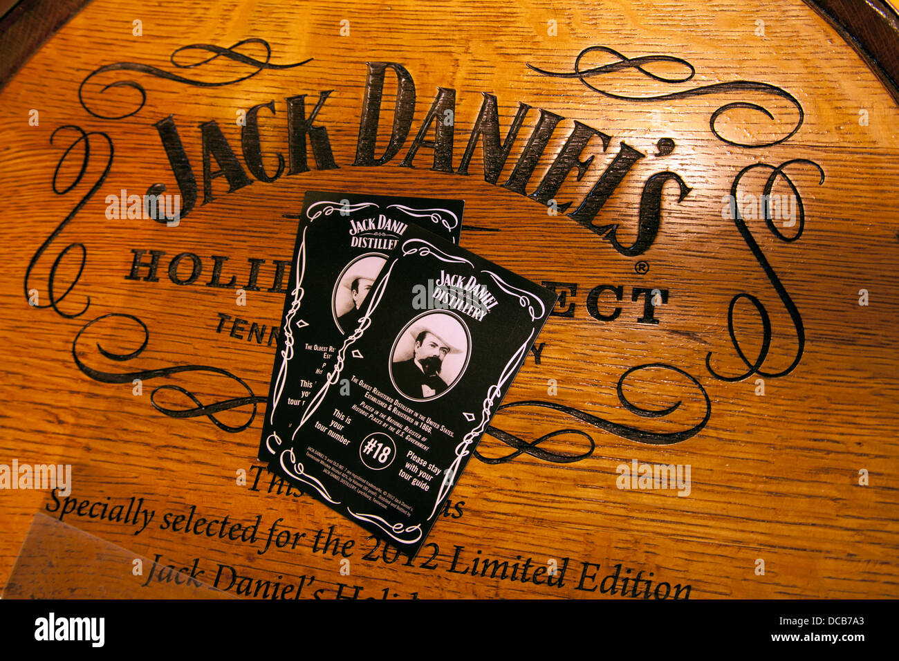 Wooden barrel of jack daniel s whiskey and distillery tour tickets at the jack daniel s distillery in