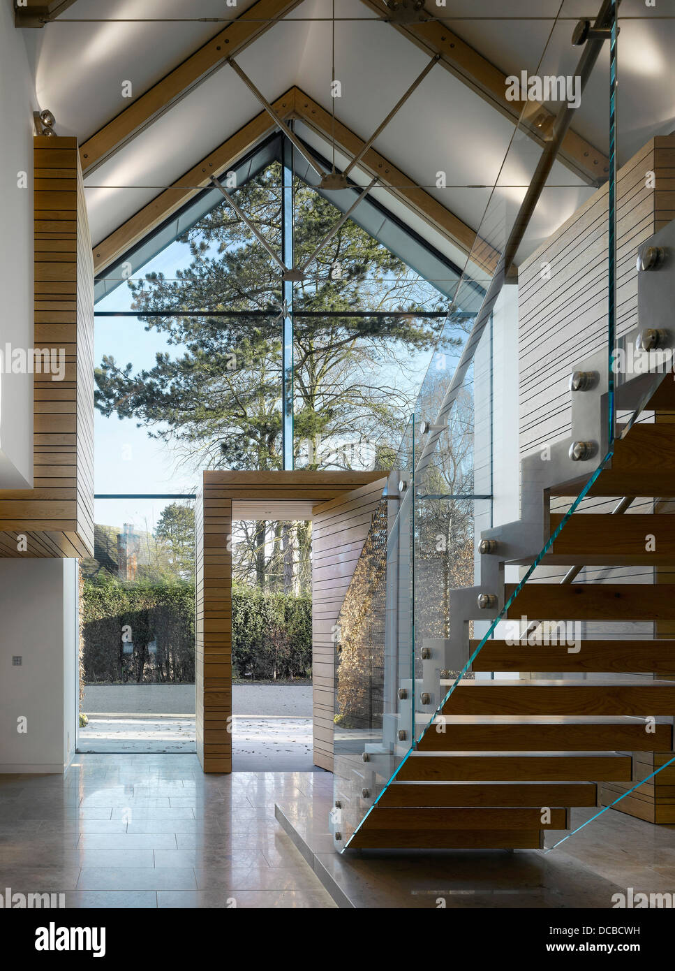 Contemporary Foyer Uk : Glass double height entrance foyer in showhome highfield
