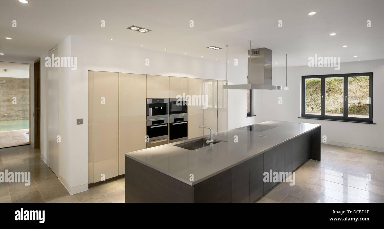 kitchen in show home highfield prestbury cheshire uk stock