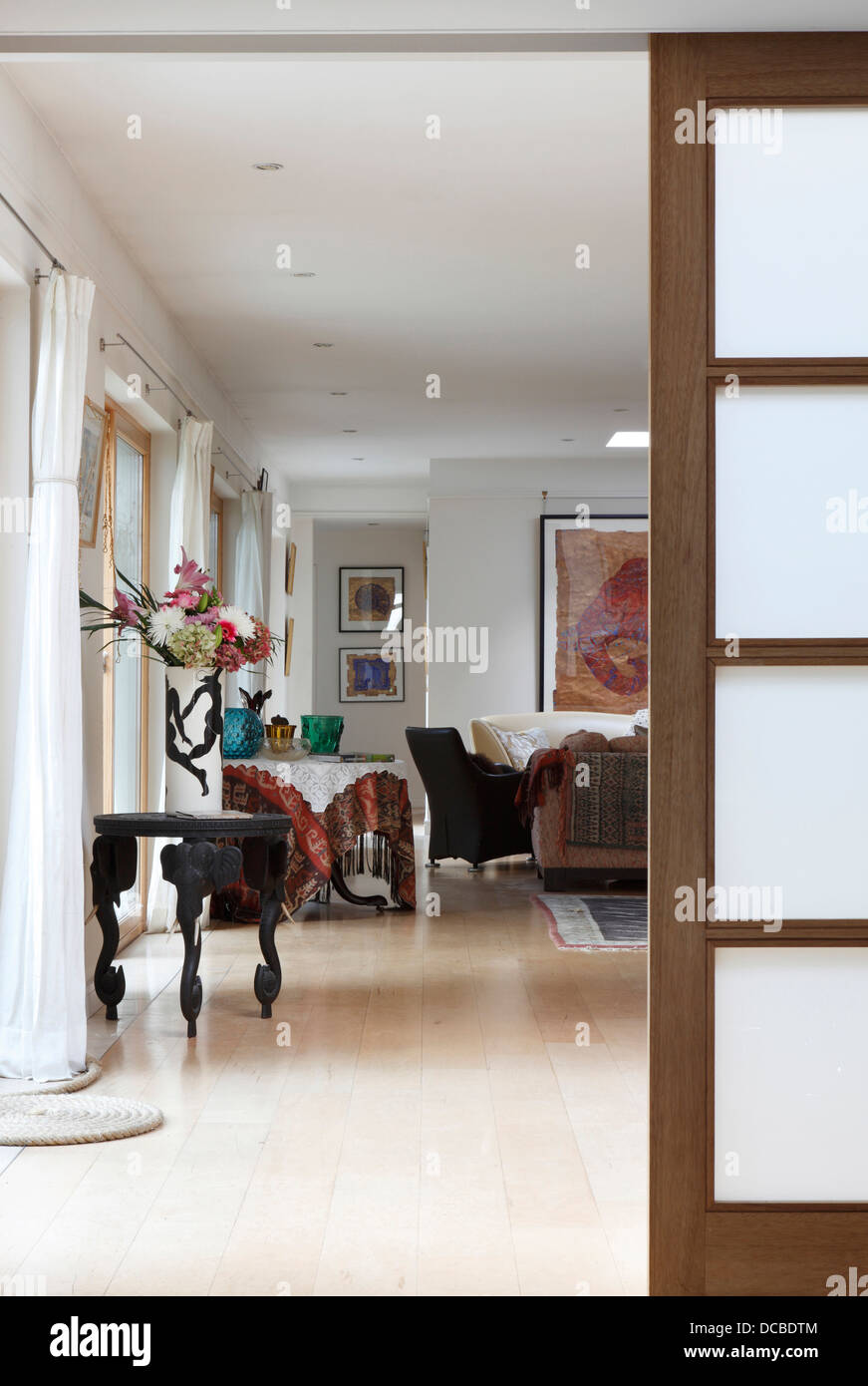 Stock Photo   View Past Sliding Door Into Living Room, Bowling Hall Home  Interior, London, UK Part 64